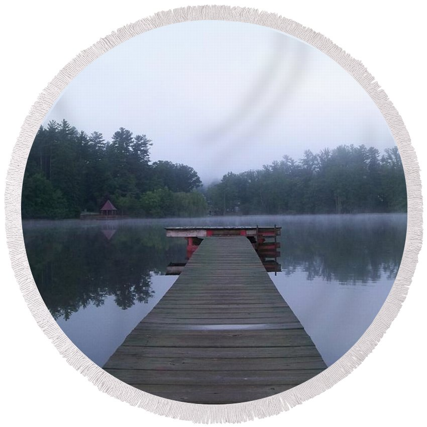 Dock Round Beach Towel featuring the photograph Dock On The Lake by Stefani Smirnes