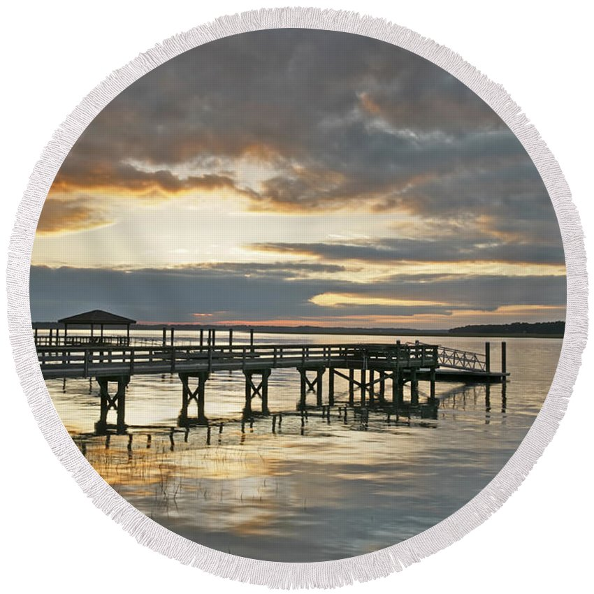 Sunset Round Beach Towel featuring the photograph Dock Reflections by Phill Doherty