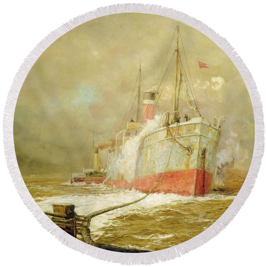 Docking Round Beach Towel featuring the painting Docking A Cargo Ship by William Lionel Wyllie