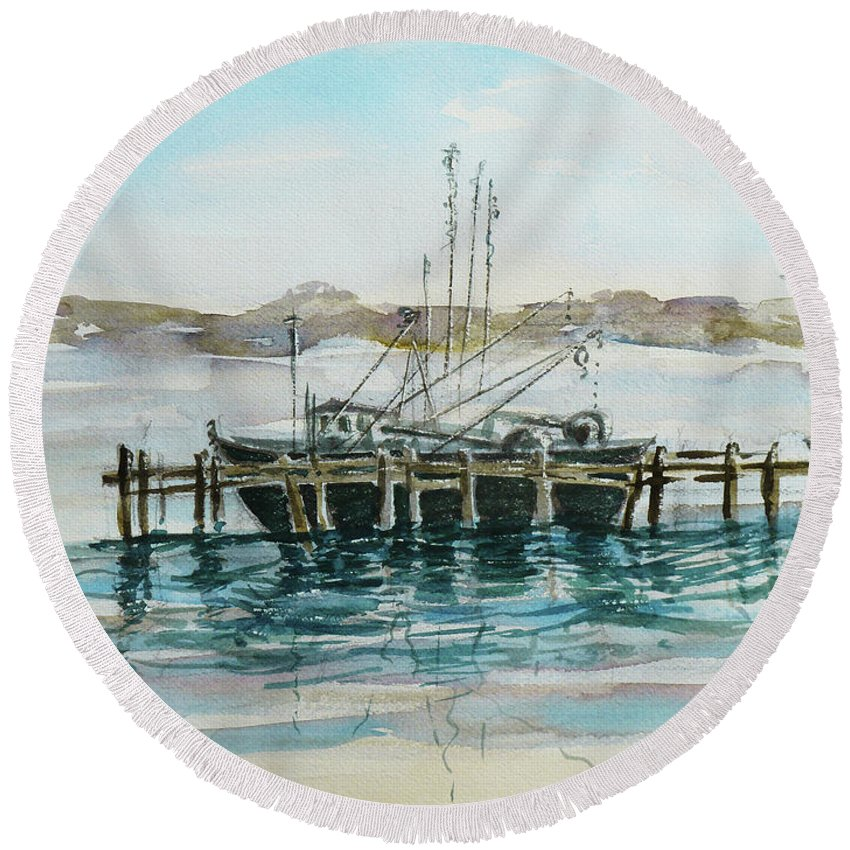 Boat Round Beach Towel featuring the painting Docking by Xueling Zou