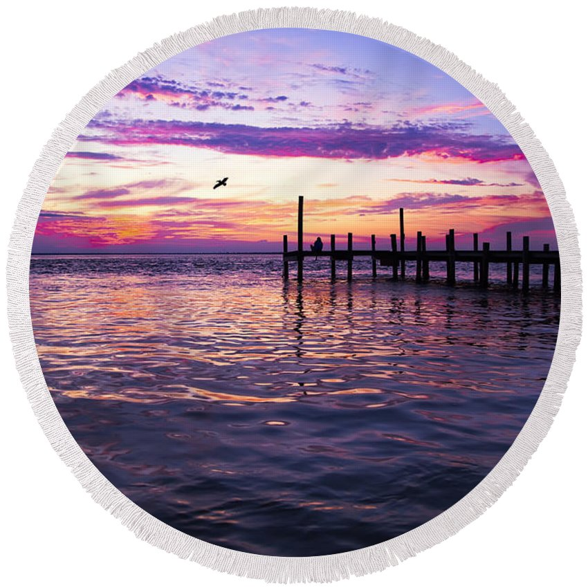 Dock Round Beach Towel featuring the photograph Dockside Sunset by Janet Fikar