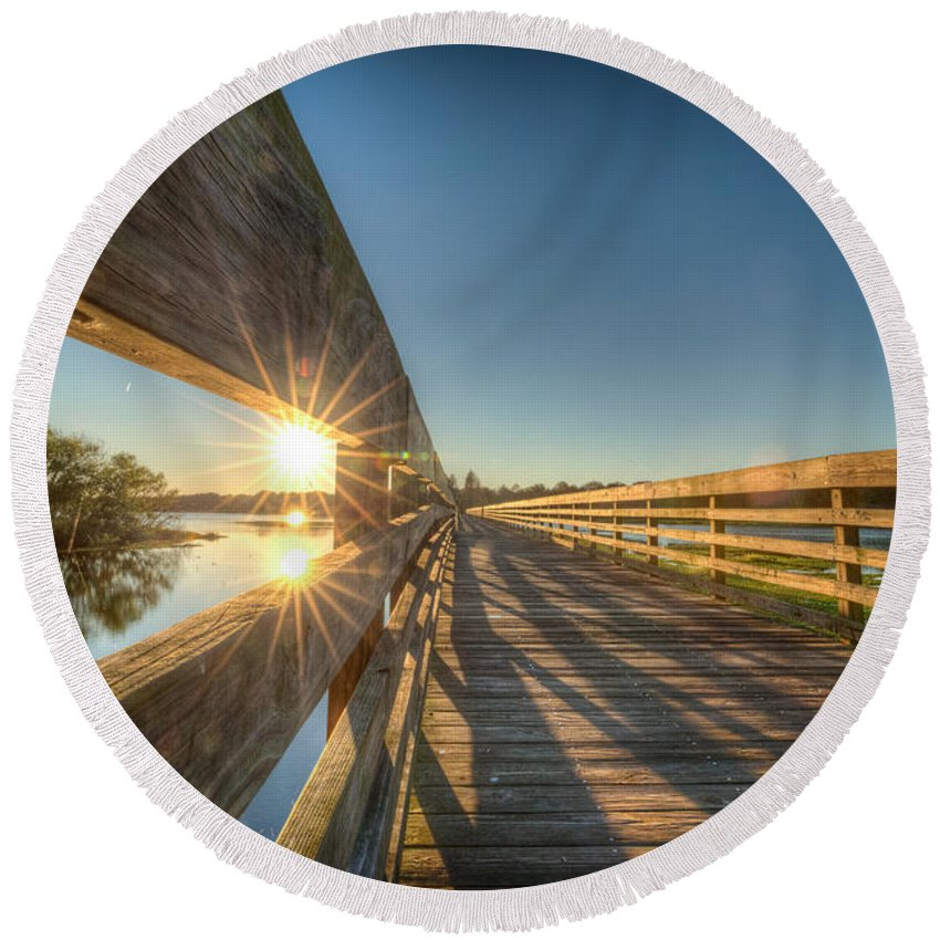 Landscape Round Beach Towel featuring the photograph Dockside Sunset by Ronald Kotinsky