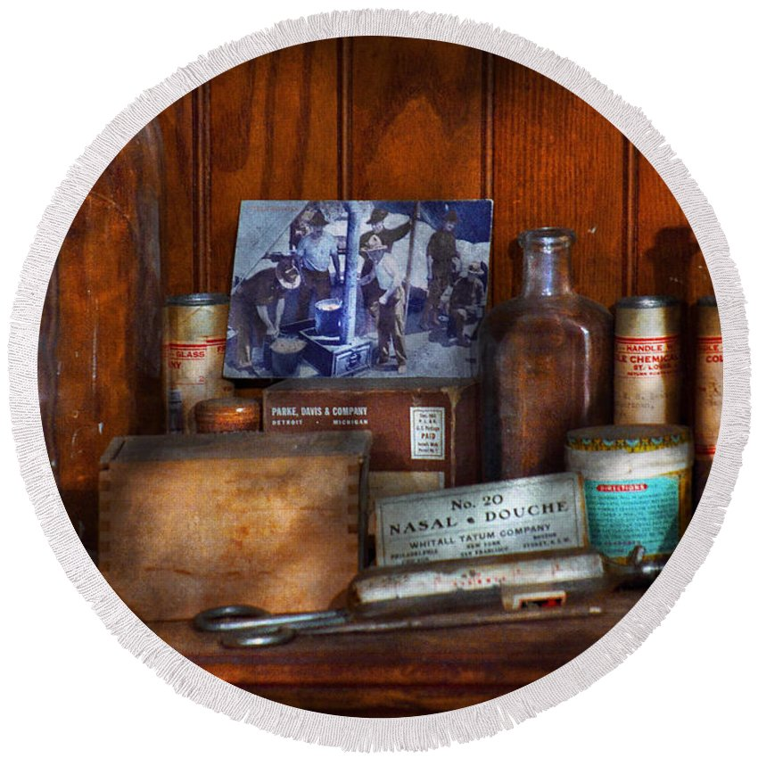 Savad Round Beach Towel featuring the photograph Doctor - My Cluttered Space by Mike Savad