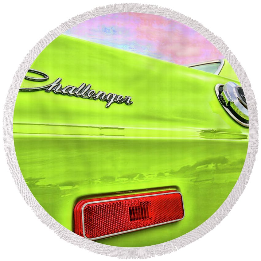 1972 Round Beach Towel featuring the photograph Dodge Challenger In Sublime Green by Gordon Dean II