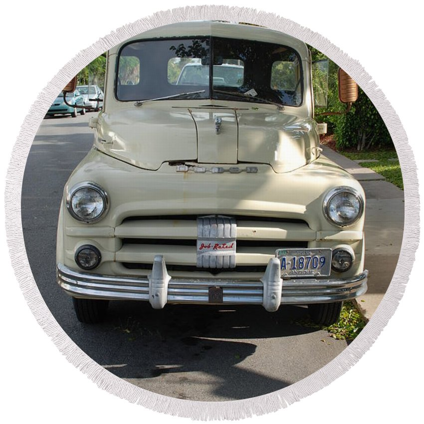 Truck Round Beach Towel featuring the photograph Dodge by Rob Hans