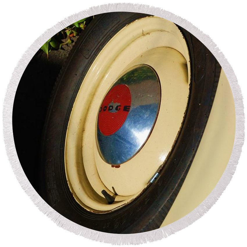 Truck Round Beach Towel featuring the photograph Dodge Tire by Rob Hans