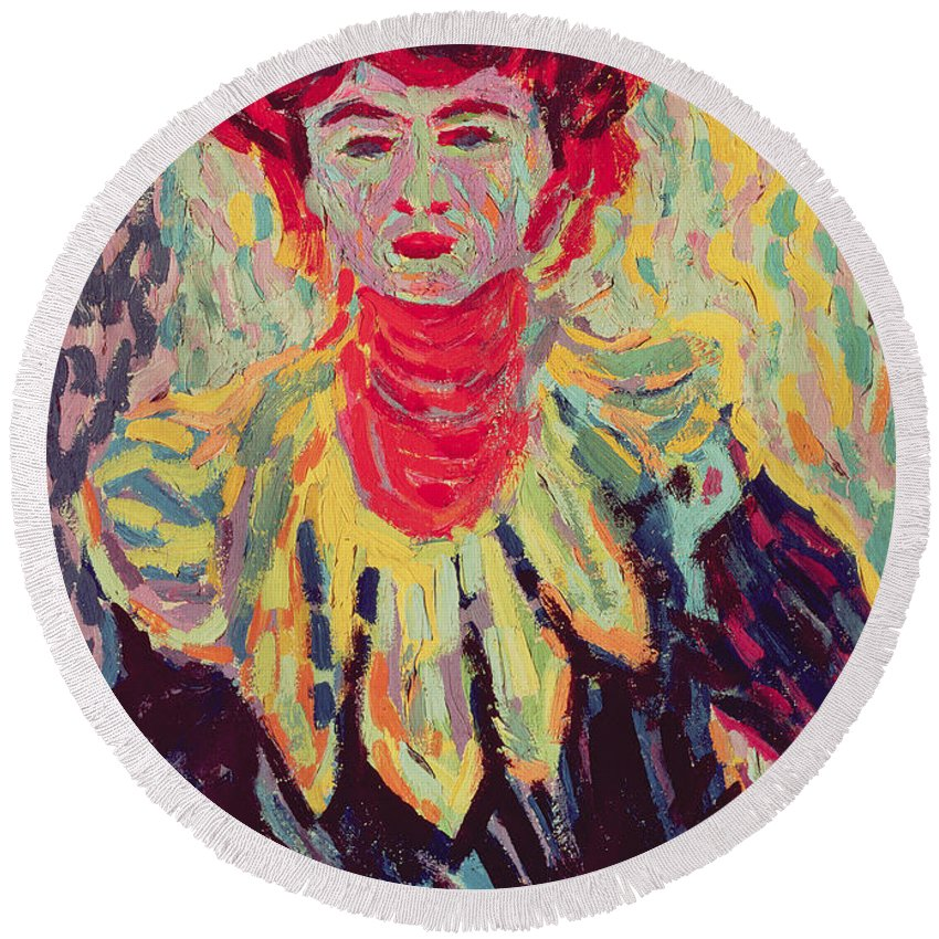 Kirchner Round Beach Towel featuring the painting Dodo Or Isabella With A Ruffed Collar by Ernst Ludwig Kirchner