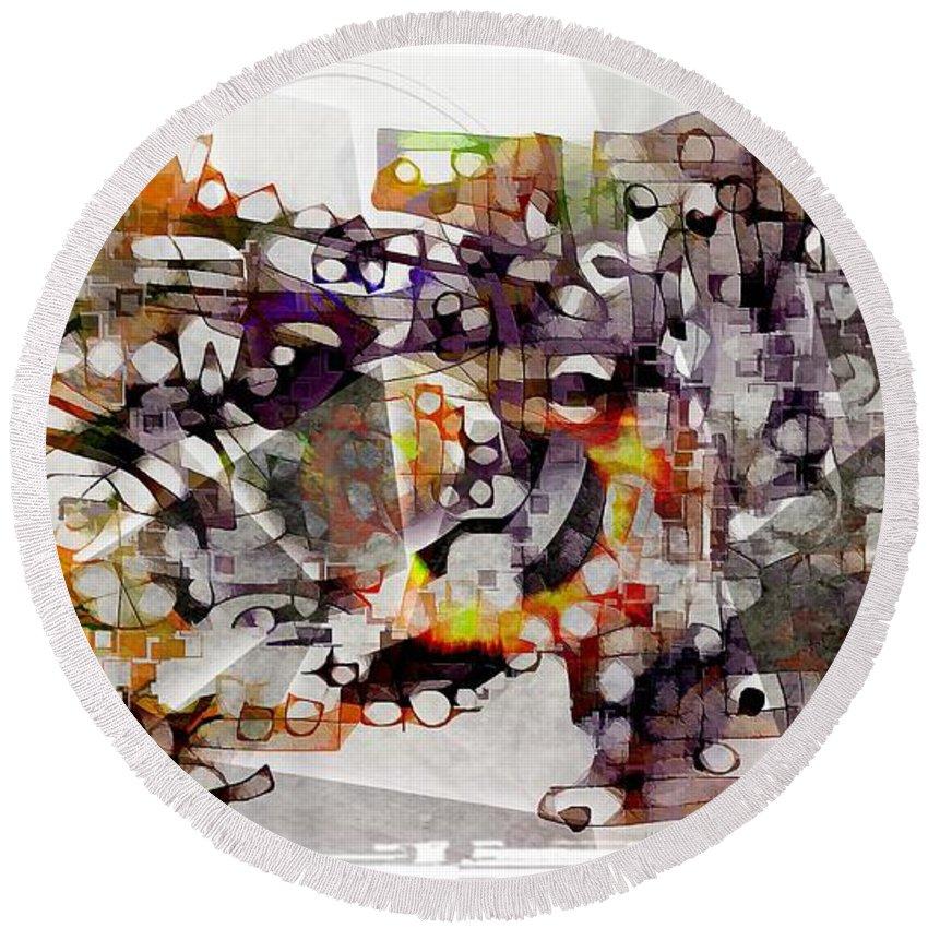 Abstraction Round Beach Towel featuring the digital art Dog 3552 by Marek Lutek