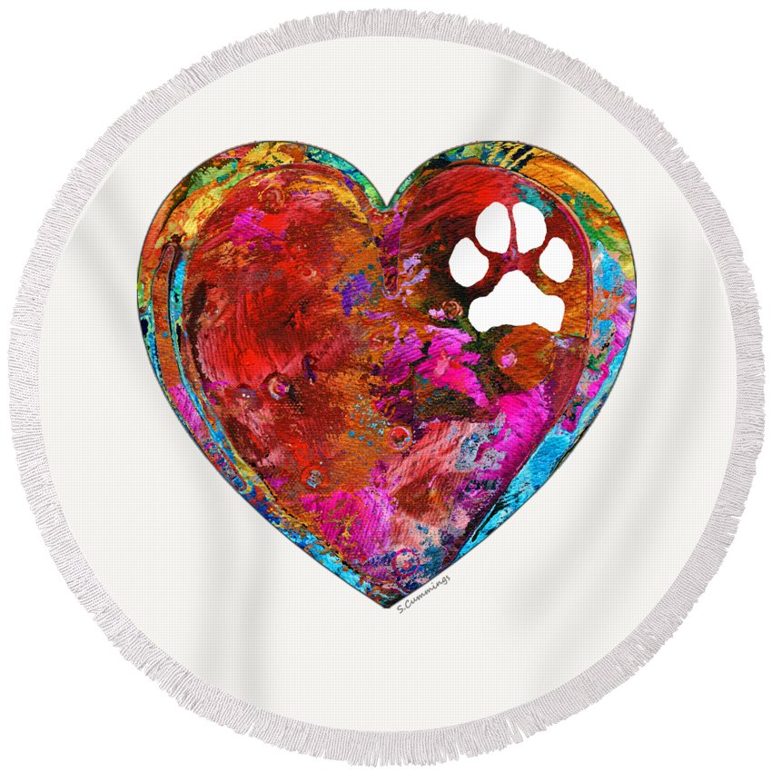 Dog Round Beach Towel featuring the painting Dog Art - Puppy Love 2 - Sharon Cummings by Sharon Cummings
