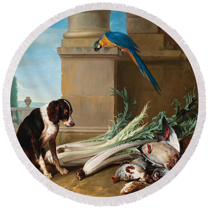 Alexandre-francois Desportes Round Beach Towel featuring the painting Dog Guarding A Hunting Trophy by Alexandre-Francois Desportes