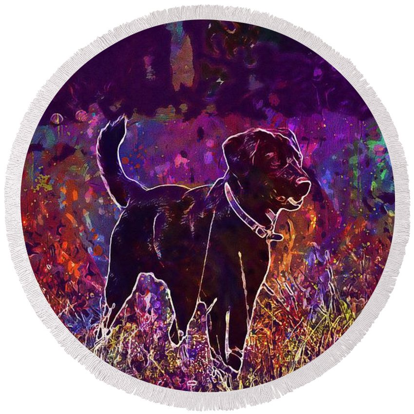 Dog Round Beach Towel featuring the digital art Dog Labrador Animal Canidae Canine by PixBreak Art
