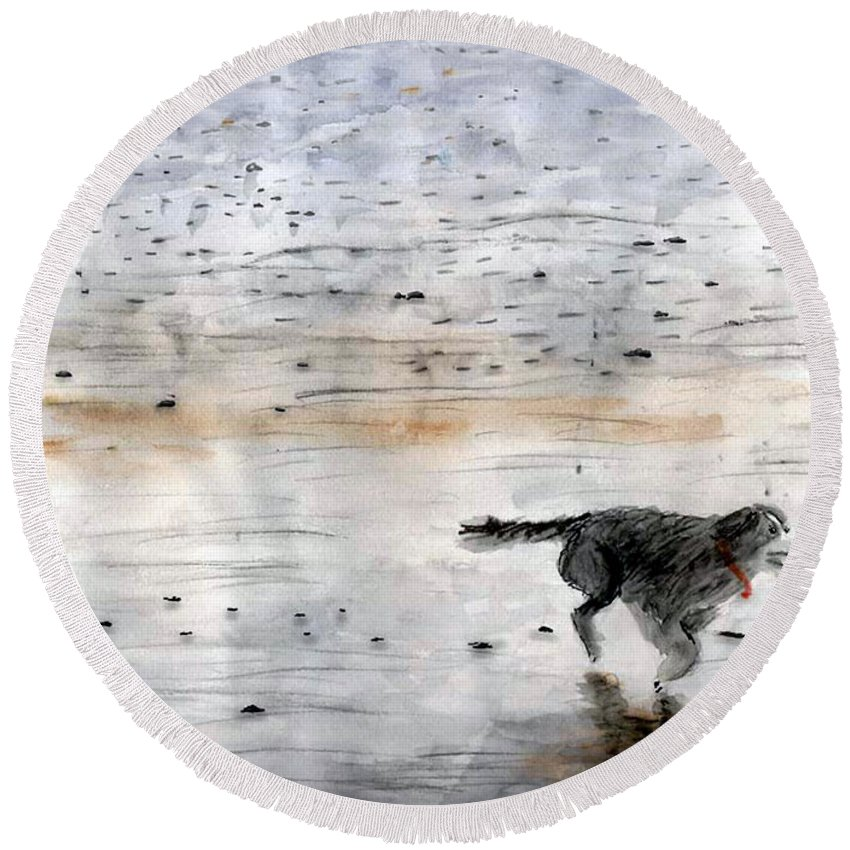 Watercolor Round Beach Towel featuring the painting Dog On Beach by Chriss Pagani