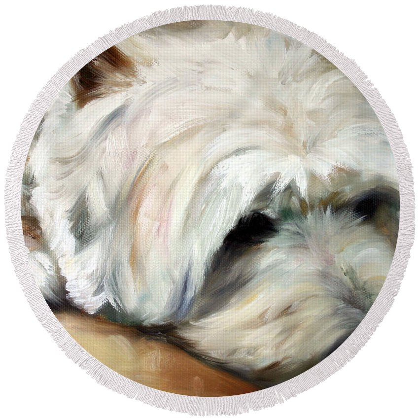 Art Round Beach Towel featuring the painting Dog Tired by Mary Sparrow