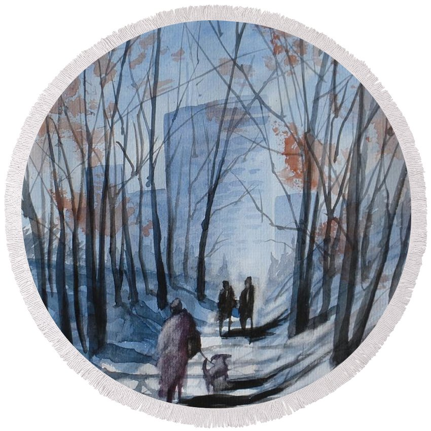 Dog Walking 2 Round Beach Towel featuring the painting Dog Walking 2, Watercolor Painting by David K Myers