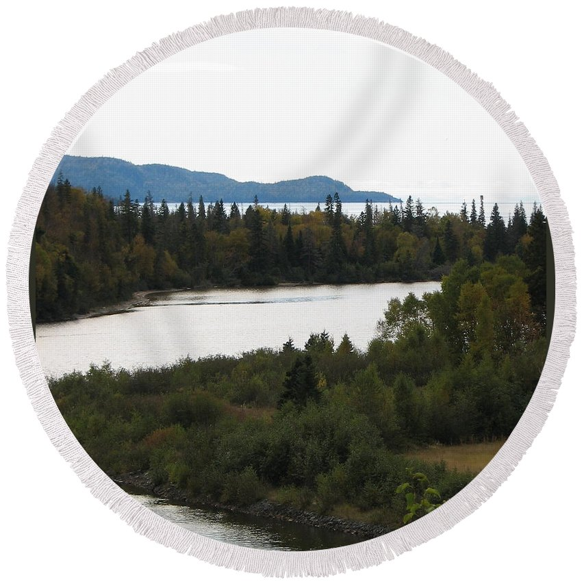 River Round Beach Towel featuring the photograph Dogleg by Kelly Mezzapelle