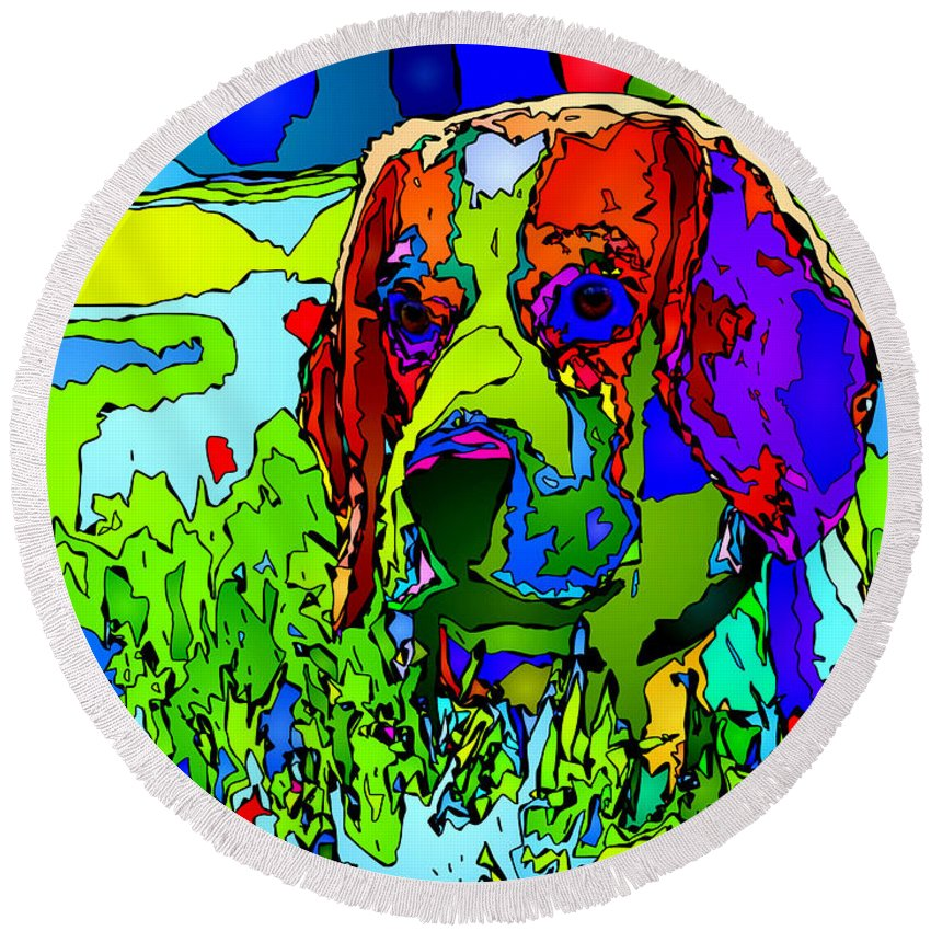 Dog Round Beach Towel featuring the digital art Dogs Can See In Color by Rafael Salazar