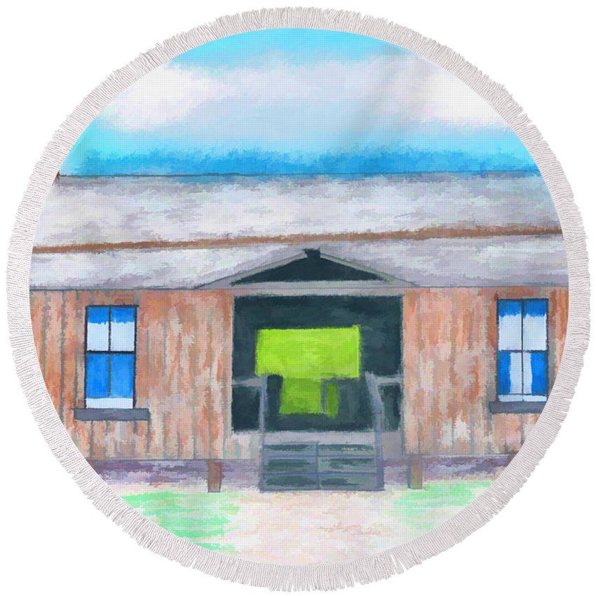 Illustration Round Beach Towel featuring the drawing Dogtrot Cracker Home Drawing by D Hackett