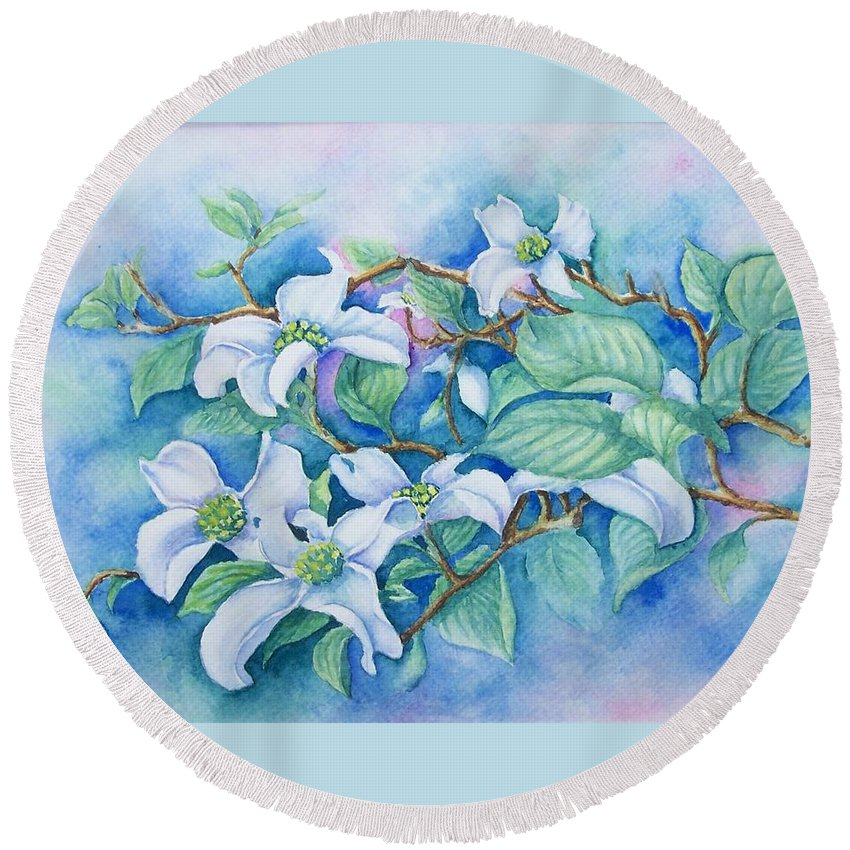 Floral Round Beach Towel featuring the painting Dogwood by Conni Reinecke