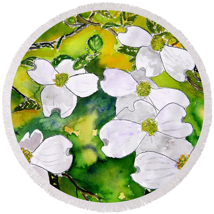 Dogwood Round Beach Towel featuring the painting Dogwood Tree Flowers by Derek Mccrea