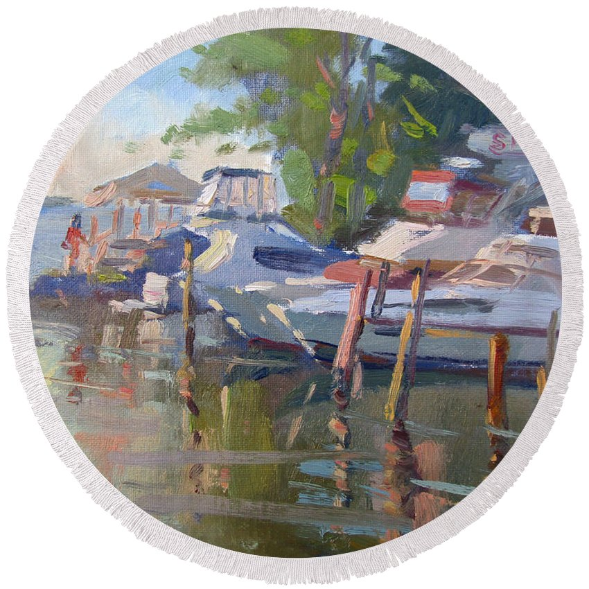 Dock Round Beach Towel featuring the painting Docks At The Shores by Ylli Haruni