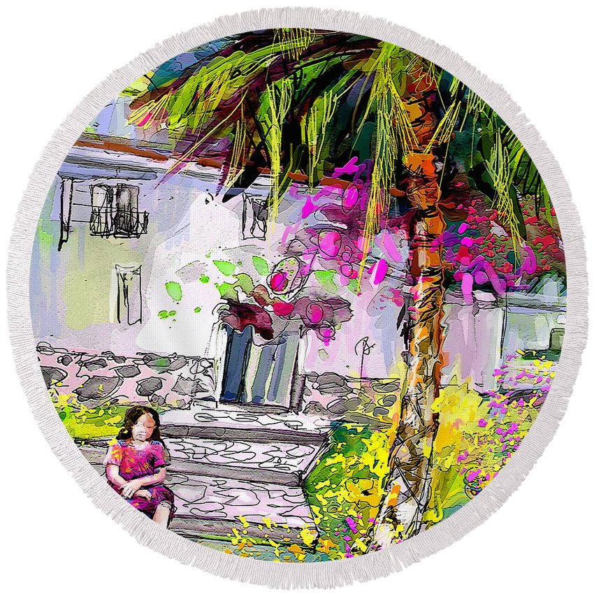 Turre Painting Round Beach Towel featuring the painting Doll House In Turre by Miki De Goodaboom