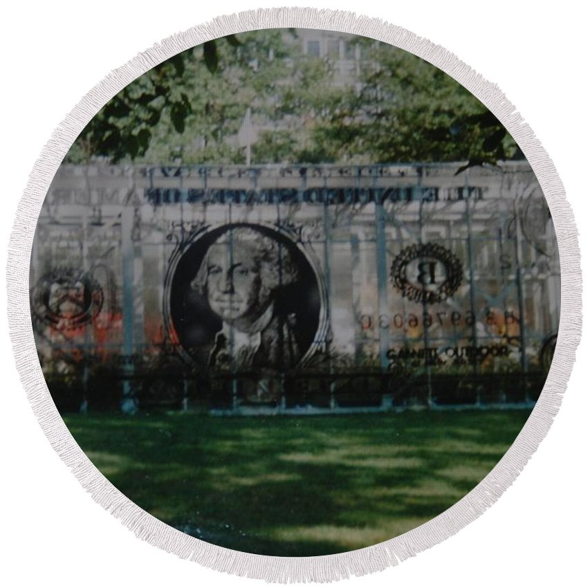 Park Round Beach Towel featuring the photograph Dollar Bill by Rob Hans