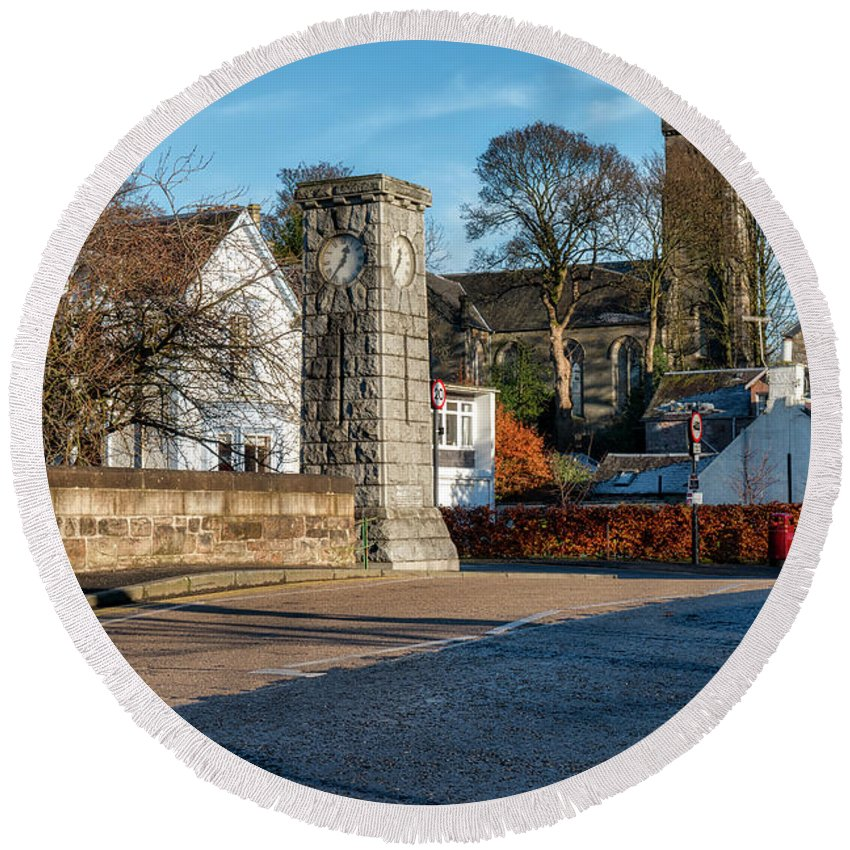 Church Round Beach Towel featuring the photograph Dollar Town In Scotland by Jeremy Lavender Photography