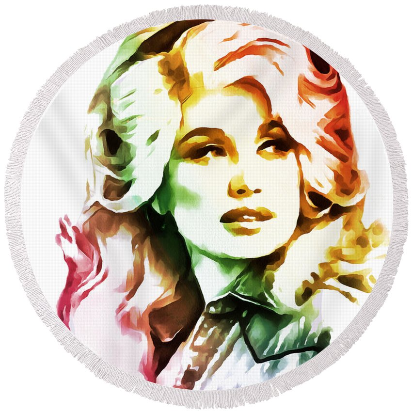 Dolly Parton Round Beach Towel featuring the painting Dolly Parton Collection - 1 by Sergey Lukashin