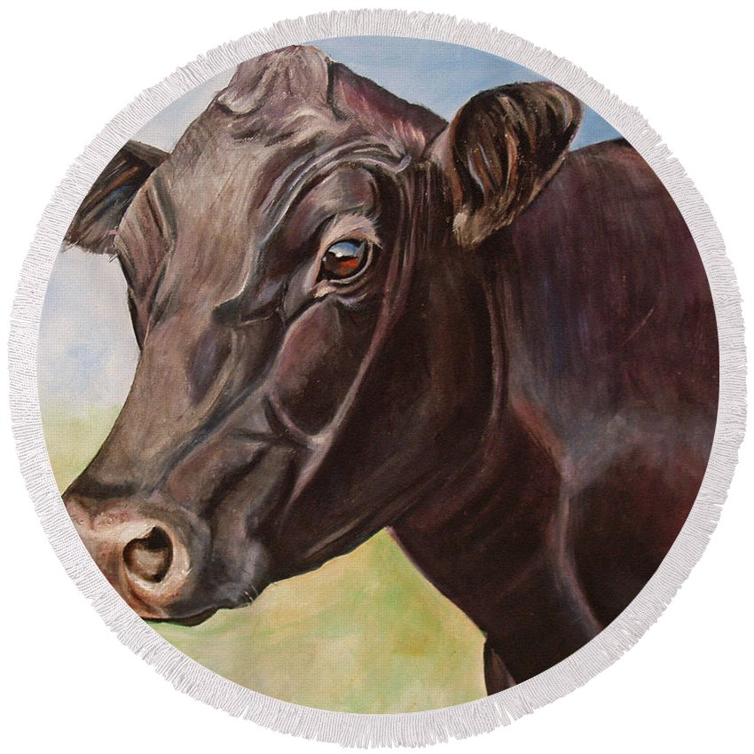 Cow Round Beach Towel featuring the painting Dolly The Angus Cow by Toni Grote
