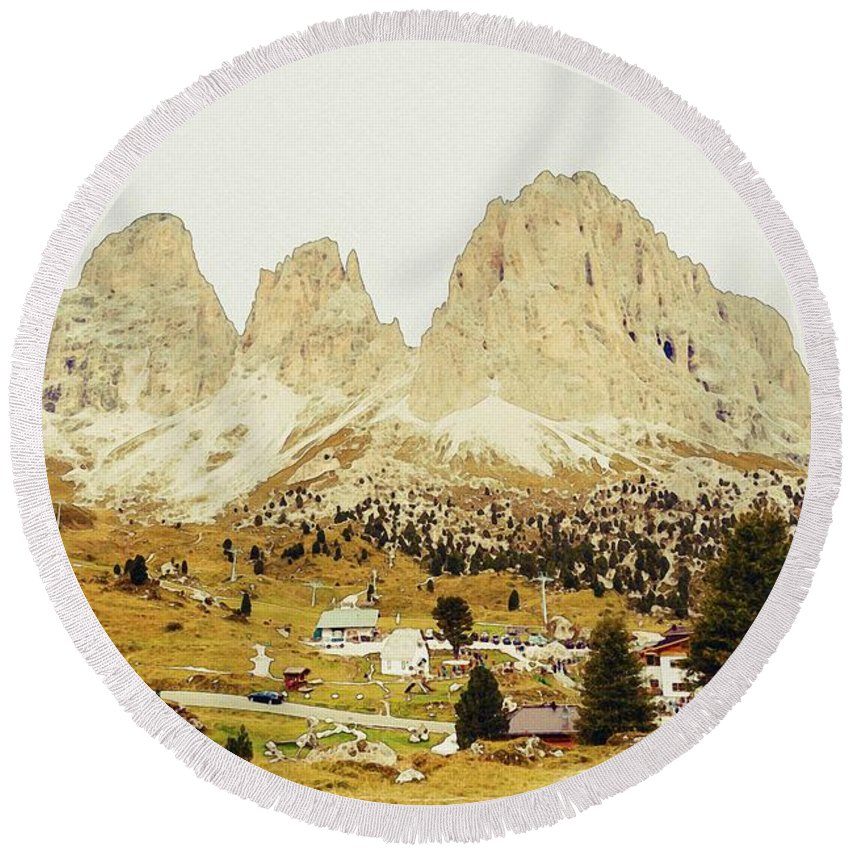 Nature Round Beach Towel featuring the painting Dolomites, Italy by Celestial Images