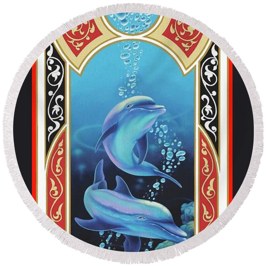 Dolphins Round Beach Towel featuring the painting Dolphin Mecca by Geoffrey Smith