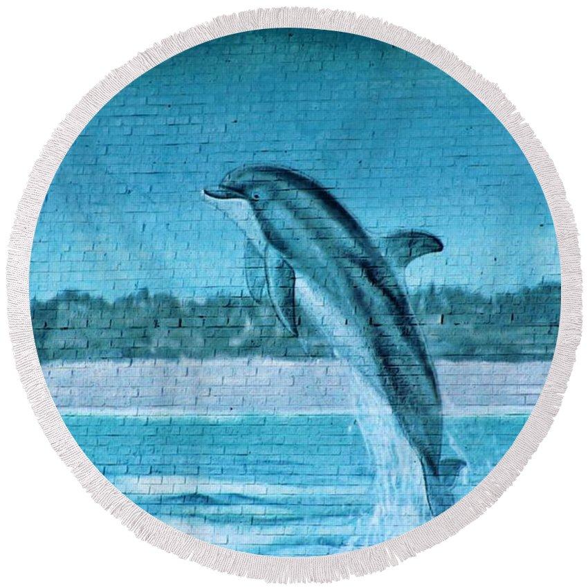 Dolphin Round Beach Towel featuring the photograph Dolphin Mural by Cynthia Guinn