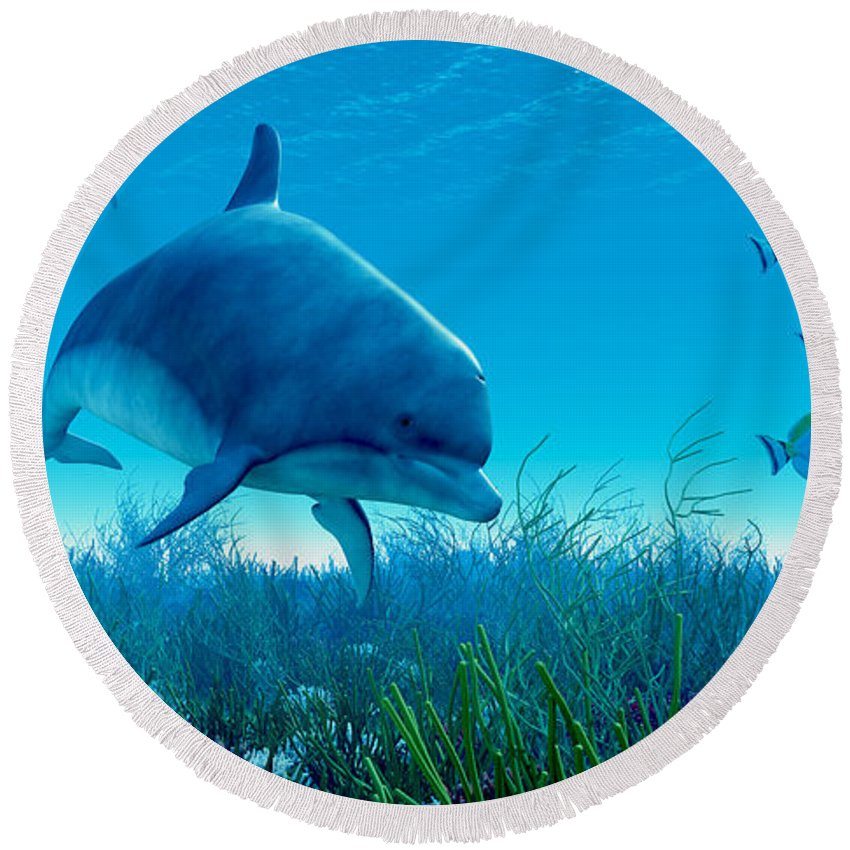 Dolphin Round Beach Towel featuring the painting Dolphin Pod by Corey Ford