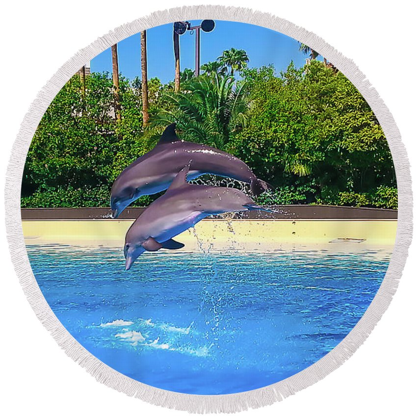 Dolphins Round Beach Towel featuring the photograph Dolphins Dance by Persephone Productions