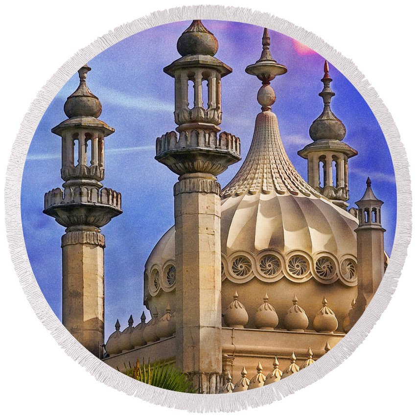 Minerette Round Beach Towel featuring the photograph Domes In The Sunset by Chris Lord