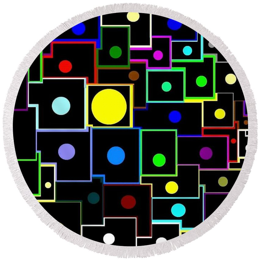 Abstract Round Beach Towel featuring the digital art Domino Effect by Will Borden