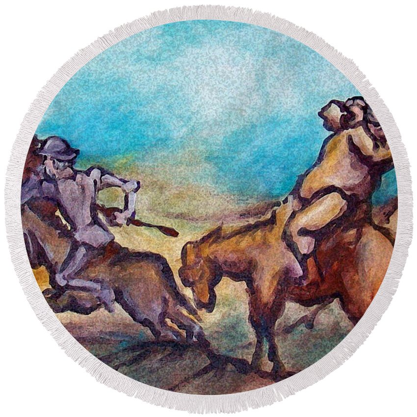 Don Quixote Round Beach Towel featuring the painting Don Quixote by Kevin Middleton