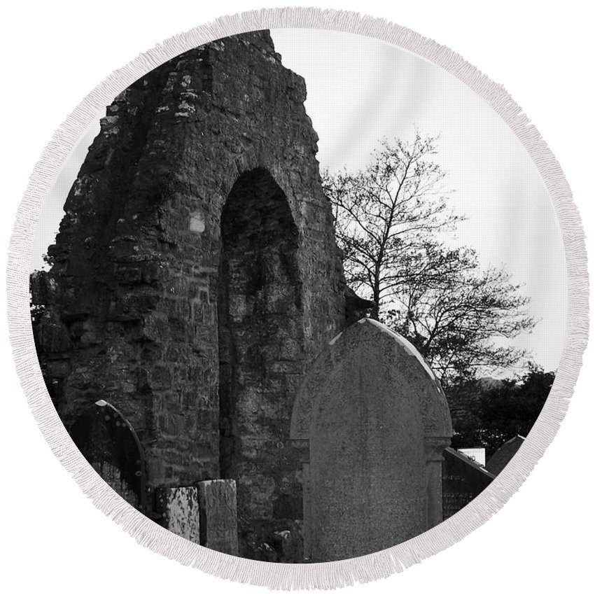 Irish Round Beach Towel featuring the photograph Donegal Abbey Ruins Donegal Ireland by Teresa Mucha