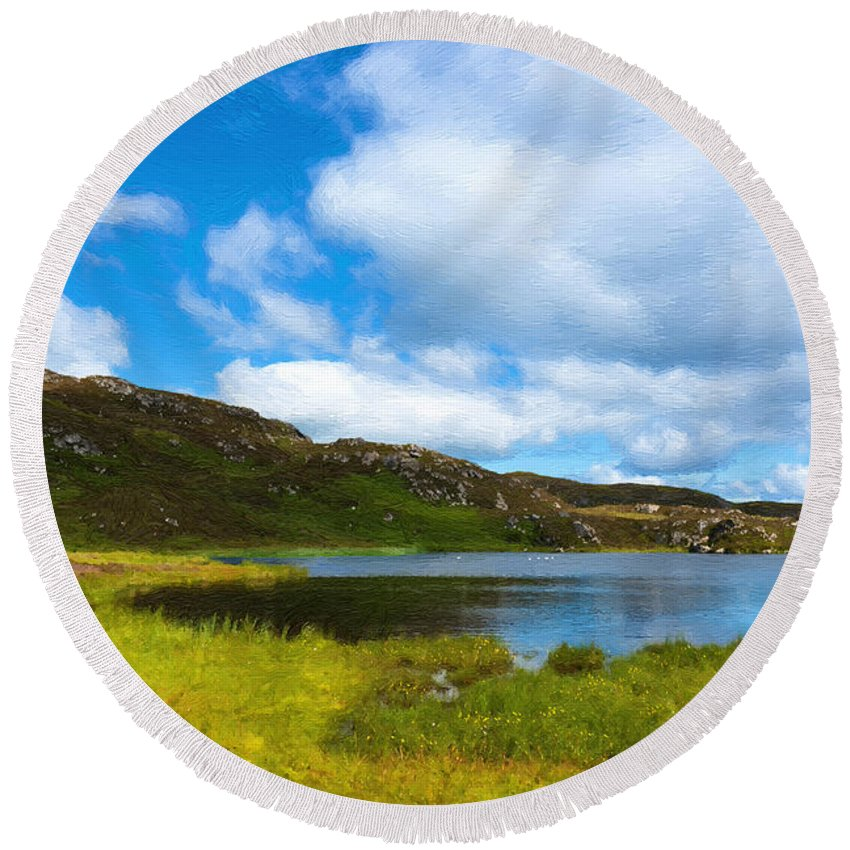 Donegal Round Beach Towel featuring the photograph Donegal Landscape by Andrew Michael