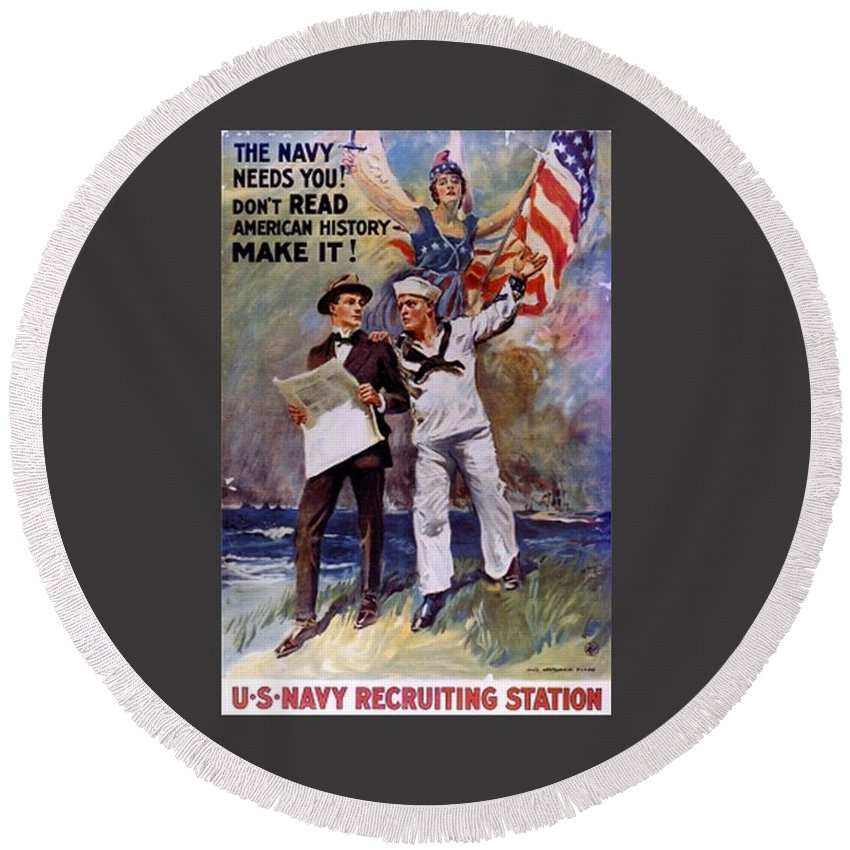 Flag Round Beach Towel featuring the digital art Don't Read American History- Make It by Frederick Holiday