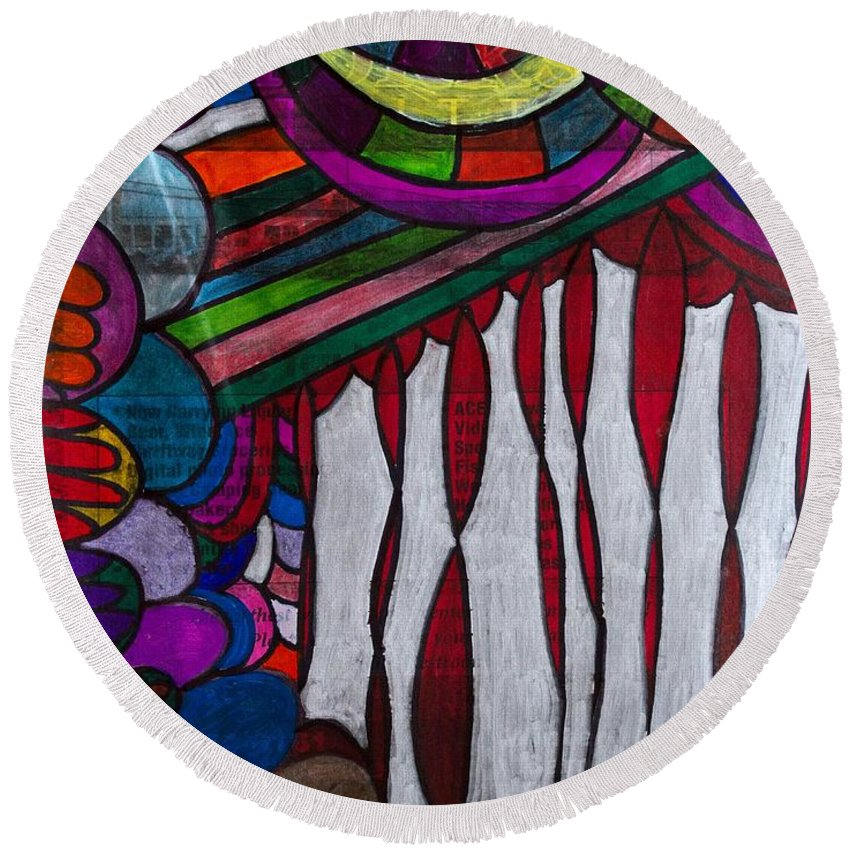 Ink Round Beach Towel featuring the painting Doodle Page 6 - Bones And Curtains - Ink Abstract by Marie Jamieson
