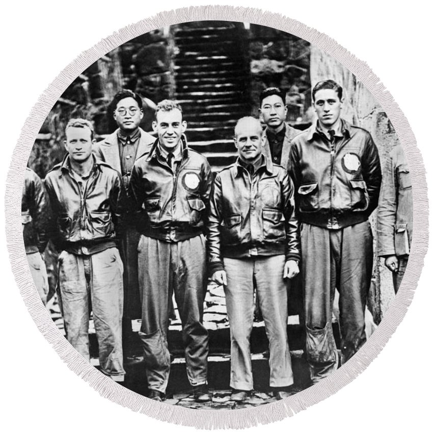 1943 Round Beach Towel featuring the photograph Doolittle's Raiders by American School