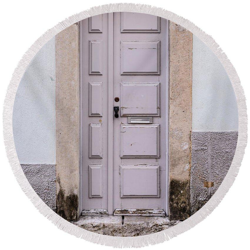 Vintage Door Round Beach Towel featuring the photograph Door No 204 by Marco Oliveira
