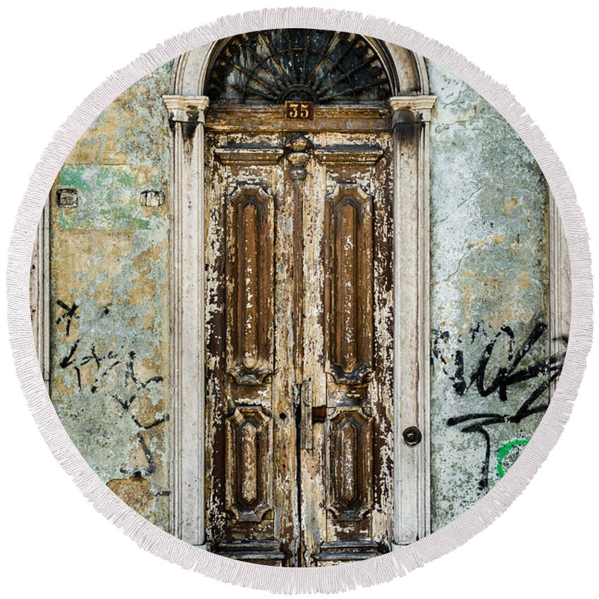 Weathered Door Round Beach Towel featuring the photograph Door No 35 by Marco Oliveira