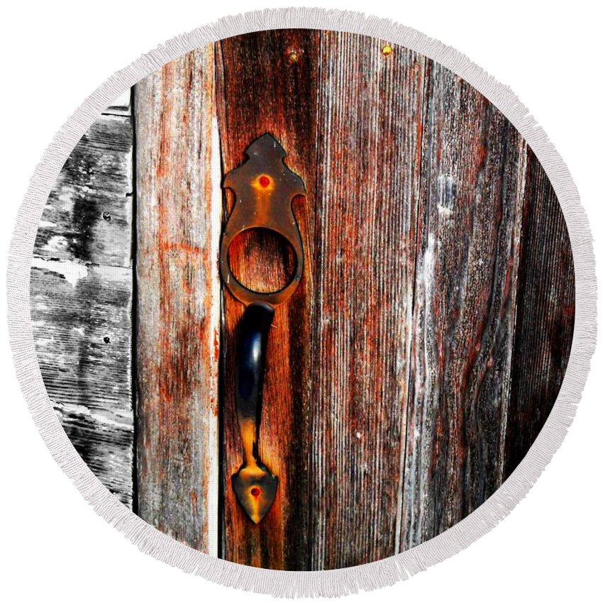 Wood Round Beach Towel featuring the photograph Door To The Past by Julie Hamilton