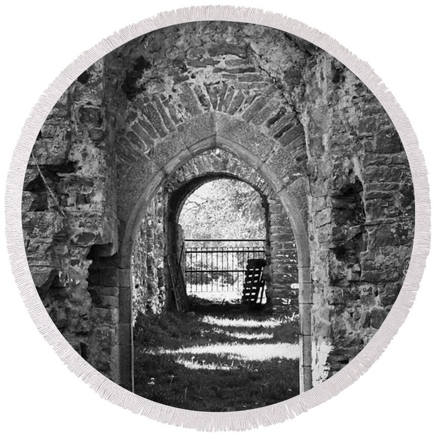 Irish Round Beach Towel featuring the photograph Doors At Ballybeg Priory In Buttevant Ireland by Teresa Mucha