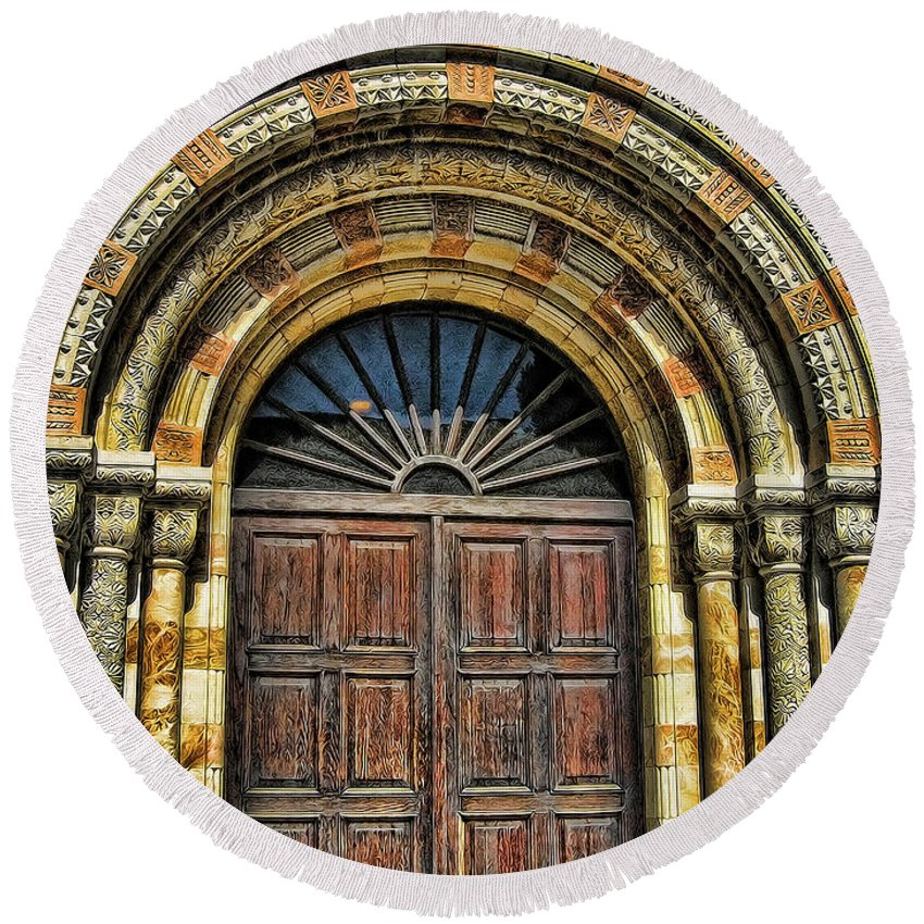 Historical Building Round Beach Towel featuring the photograph Doors To Holiness by Douglas Barnard