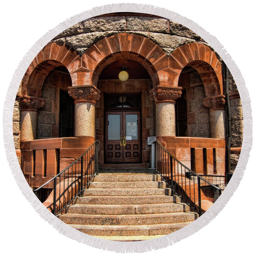 Courthouse Round Beach Towel featuring the photograph Doors To Justice by Douglas Barnard