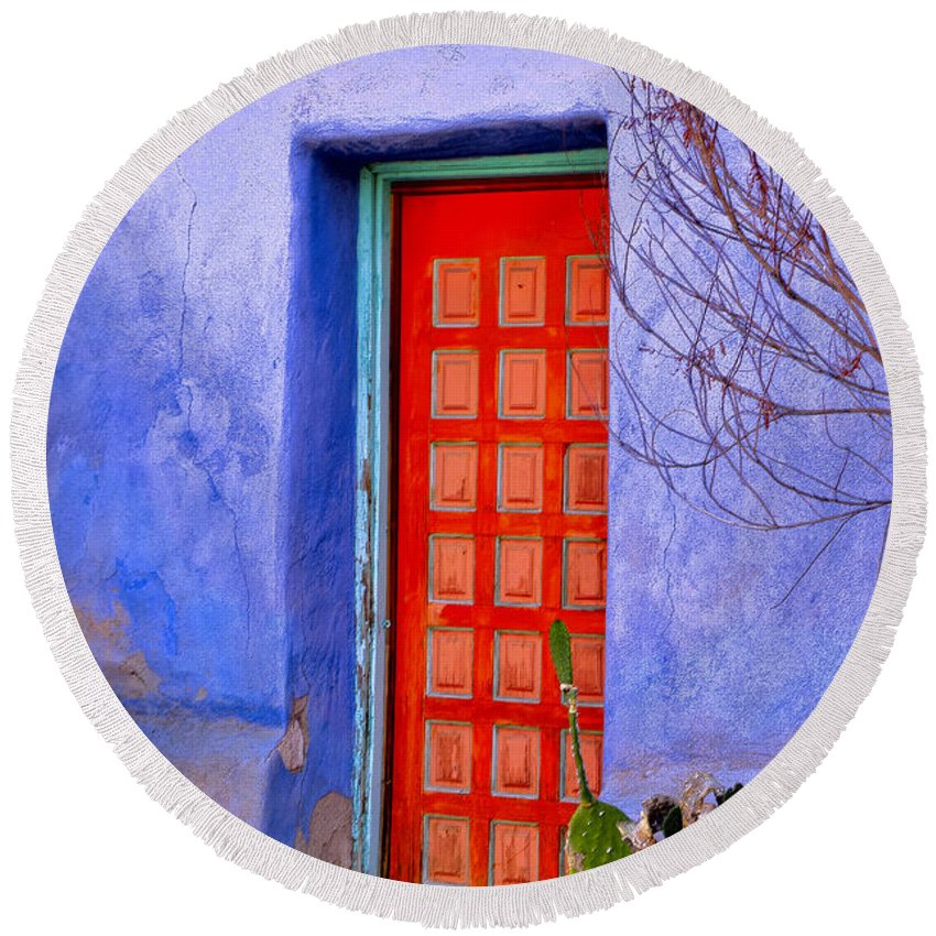 Barrio Round Beach Towel featuring the photograph Doorway 6 by Larry White