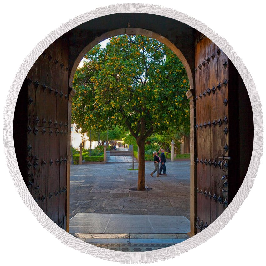 Photography Round Beach Towel featuring the photograph Doorway And Arch Between Gardens by Panoramic Images